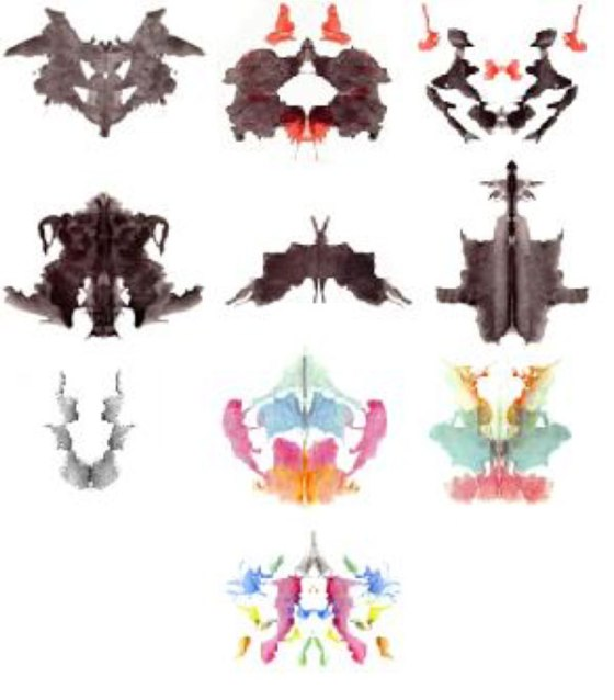 """TEST DE RORSCHACH: costa de una serie de 10 láminas divididas en tres tipos: 5 acromáticas, 3 cromáticas y 2 negro-rojas, como decía Rorschach """"la prueba consiste en una interpretar formas accidentales, es decir, imágenes sin configuración determinada"""" (Rorschach 1922)"""